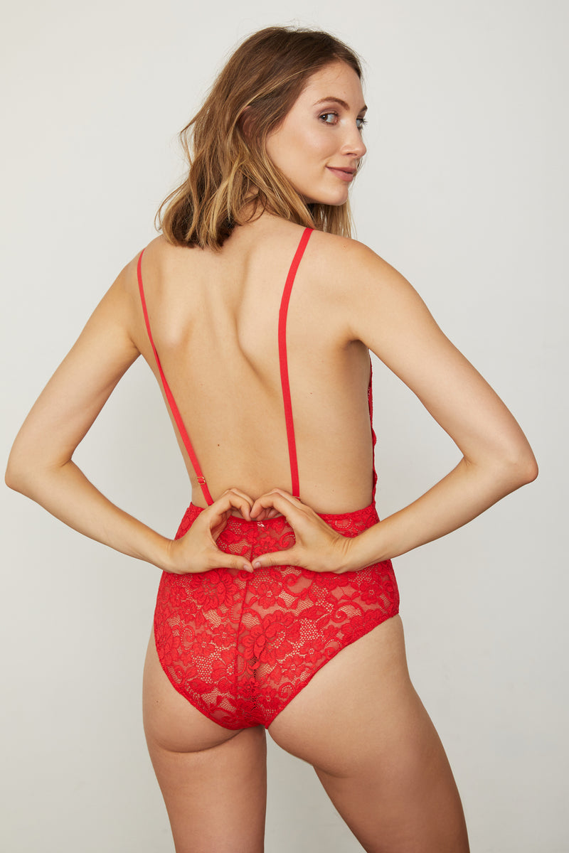 red lace deep v-neck bodysuit