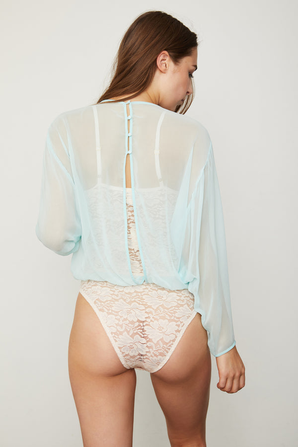 light blue chiffon bodysuit blouse with lace underlay machine washable