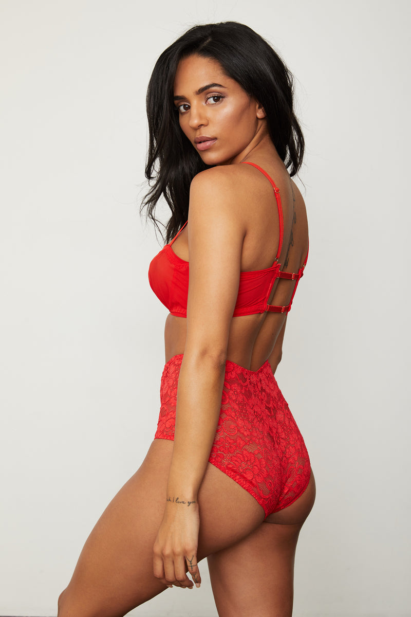 red orange mesh stretch lace halter bralette with extra-wide adjustable straps