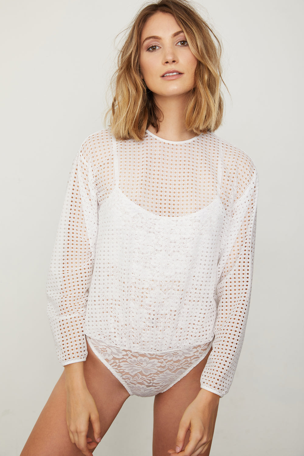 white mesh dotted bodysuit blouse with lace underlay machine washable