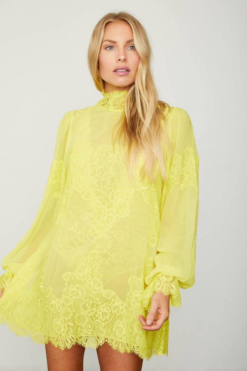 bright yellow lace and chiffon victorian high neck long sleeve mini dress bell sleeves machine washable