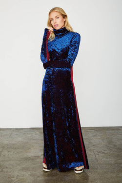 blue velvet long sleeved turtleneck maxi dress machine washable