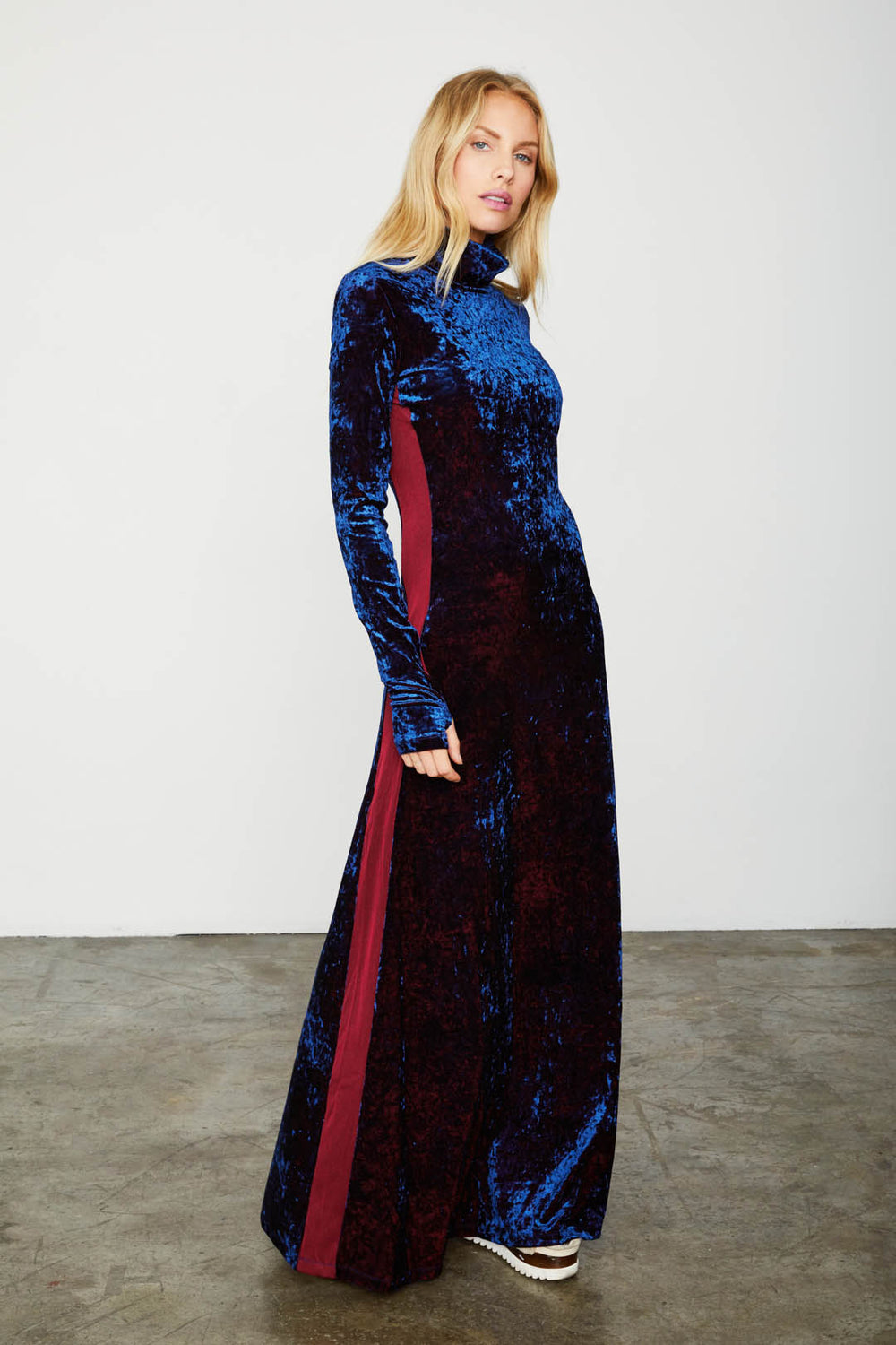 blue velvet long sleeved turtleneck maxi dress machine washable | Model is wearing size S