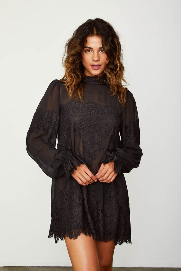 black lace and chiffon victorian high neck long sleeve mini dress bell sleeves machine washable