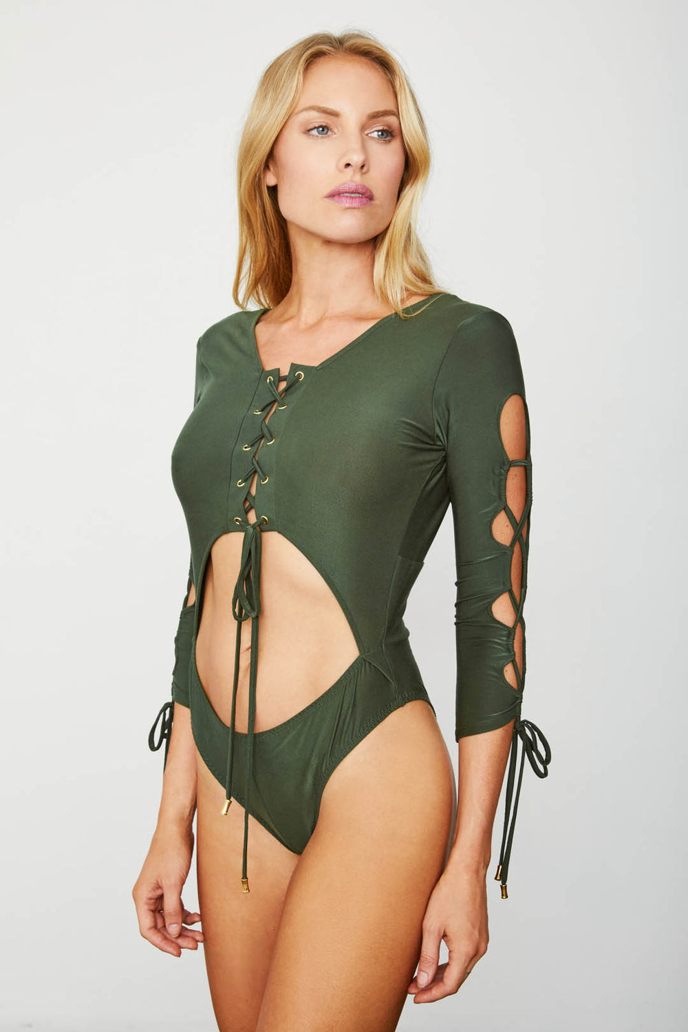 dark army green long sleeved knit tie deep v neck bodysuit reversible