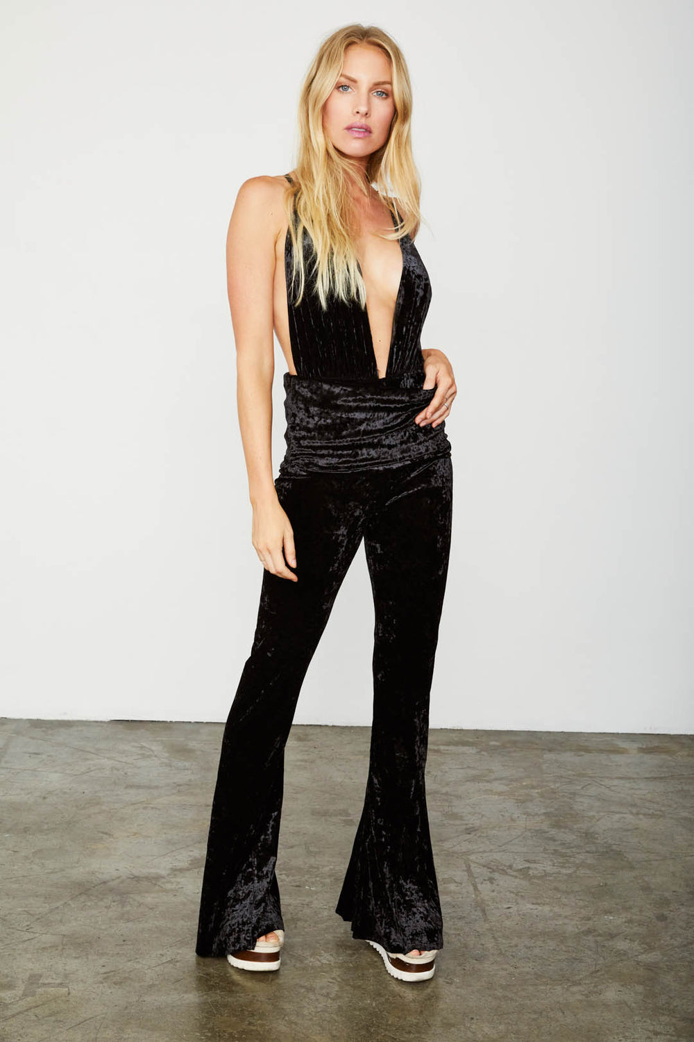 black velvet flare vintage inspired pant adjustable jumpsuit