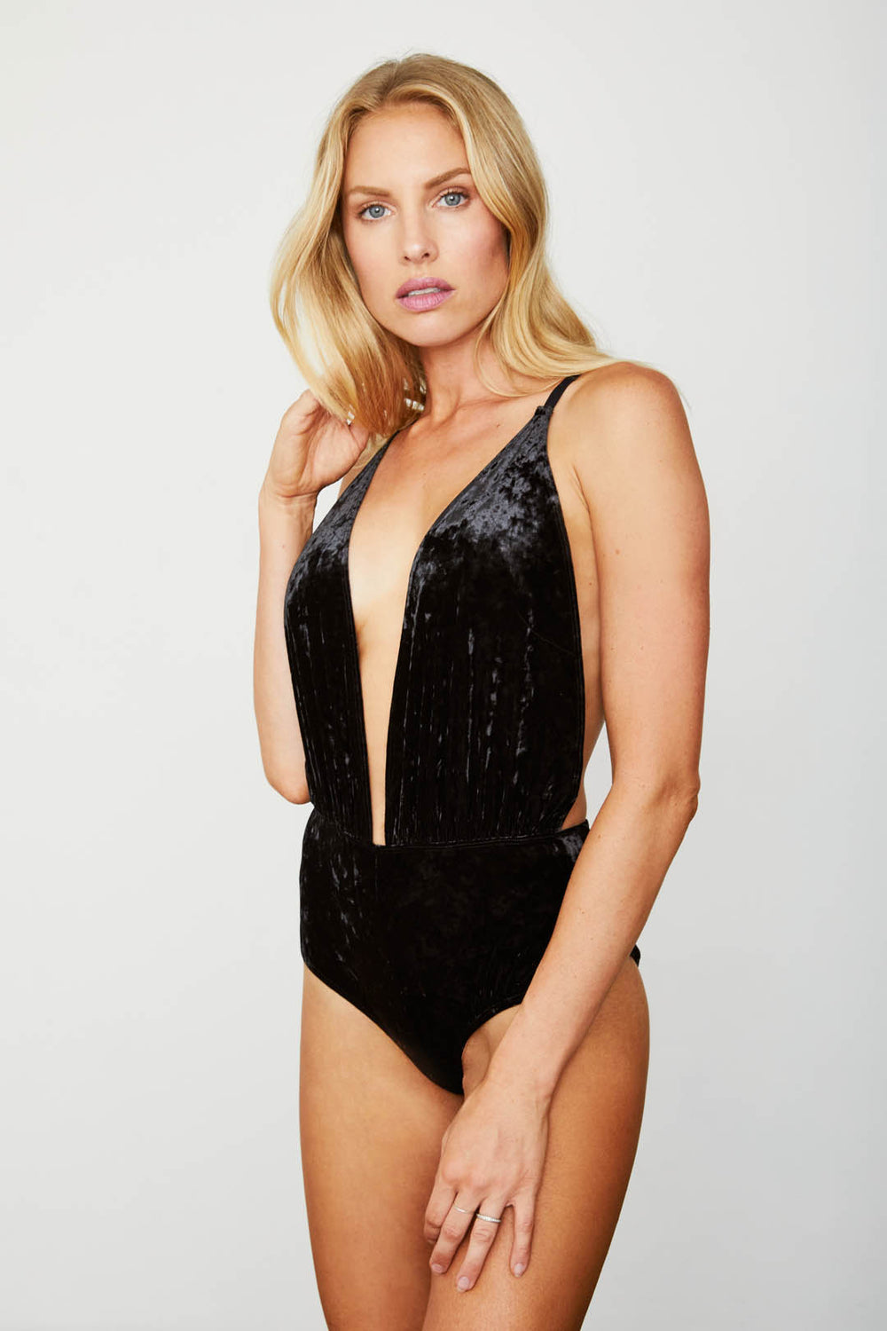 black deep v neck velvet bodysuit machine washable