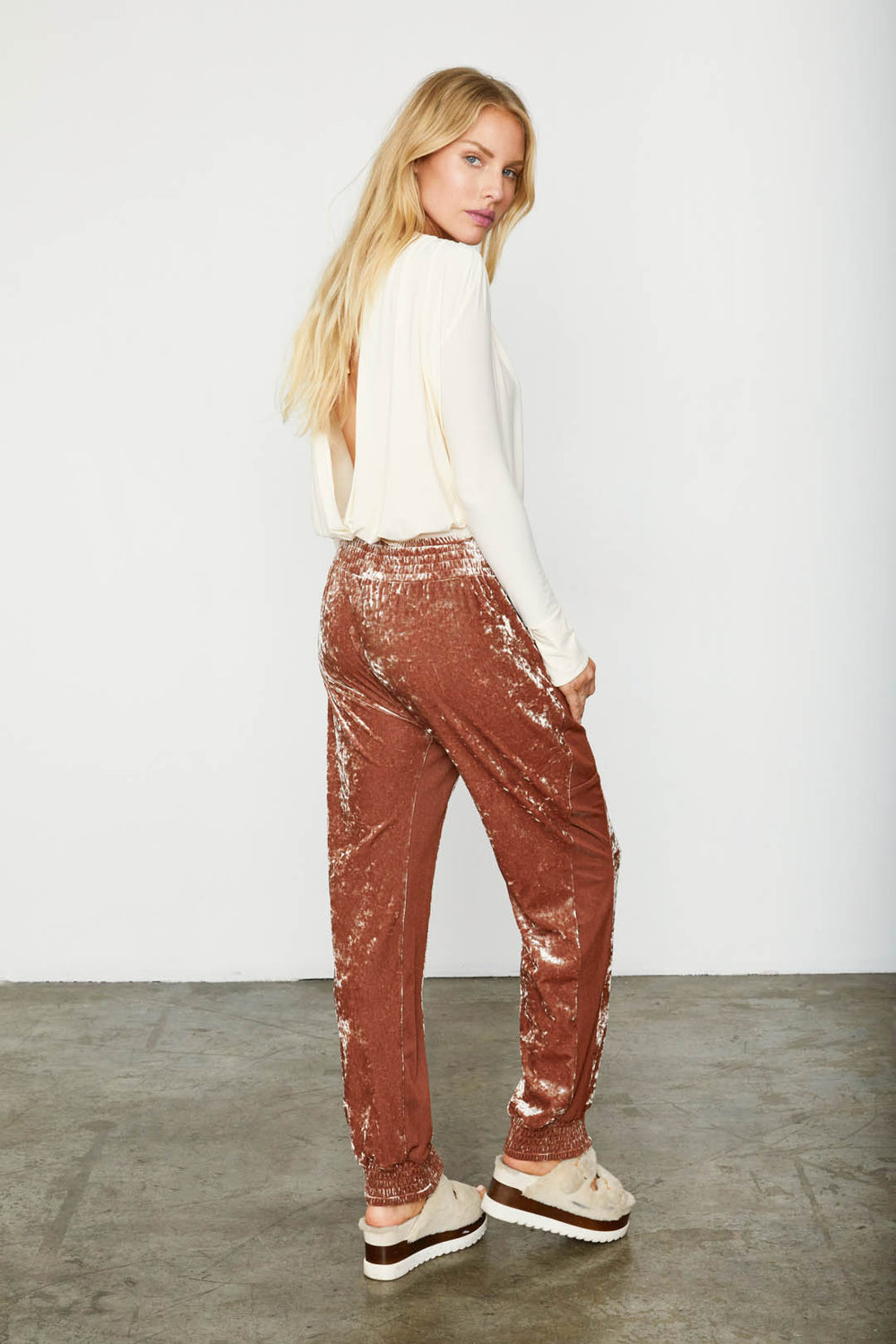 brown red velvet jogger pant sweatpant sweat pant