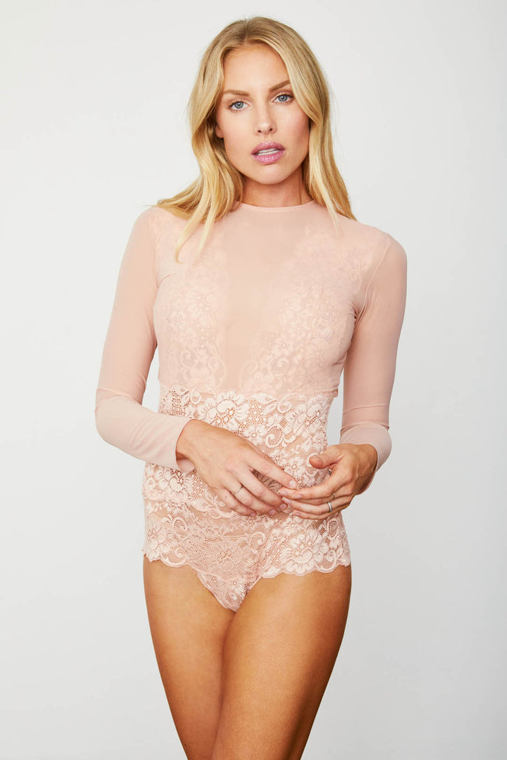 Light pink elegant stretch mesh & lace long-sleeved bodysuit with a deep V-Neck & allover coverage.
