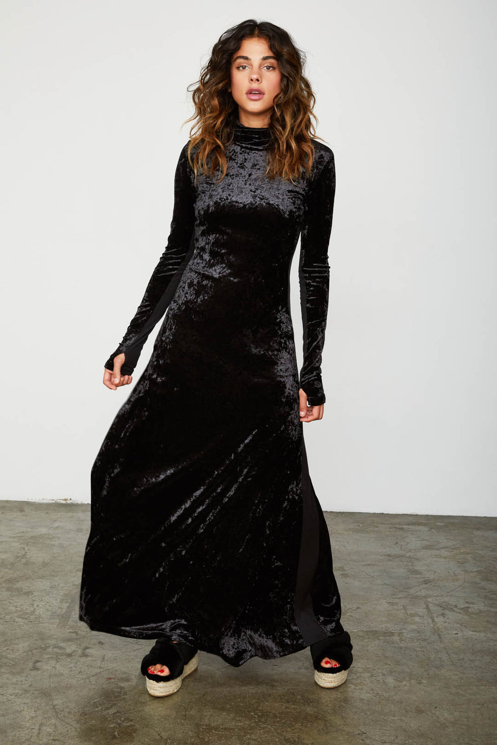 black velvet long sleeved turtleneck maxi dress machine washable | Model is wearing size S