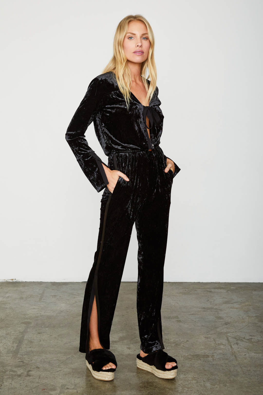 black velvet vintage inspired long sleeved jumpsuit
