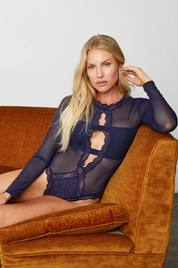 Navy mesh & lace sheer long-sleeved bodysuit. Sexy & comfortable.