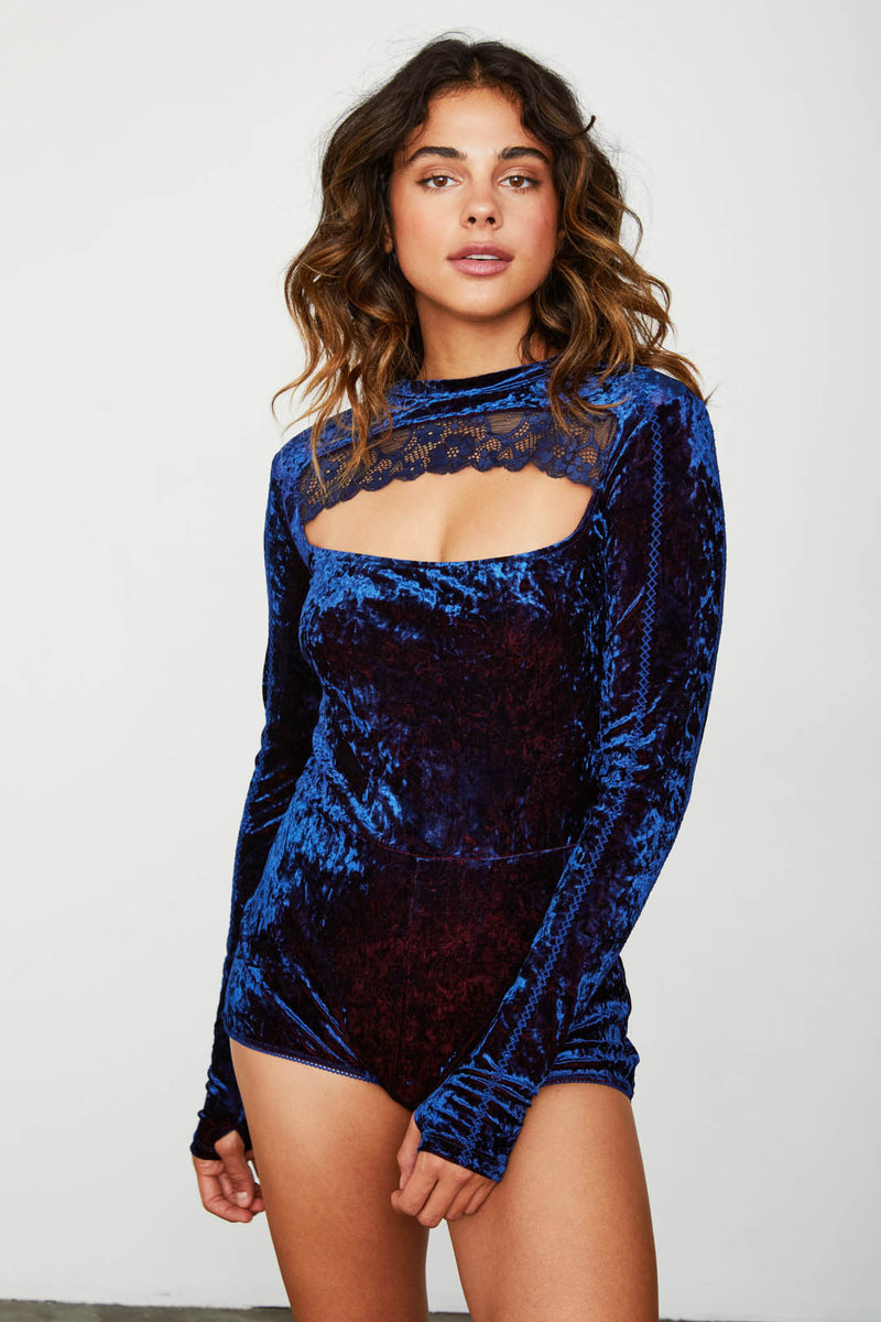 navy blue stretch keyhole velvet bodysuit long sleeve