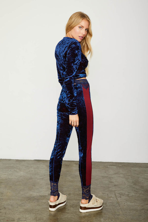 blue velvet stretch legging with red stripe and lace detail