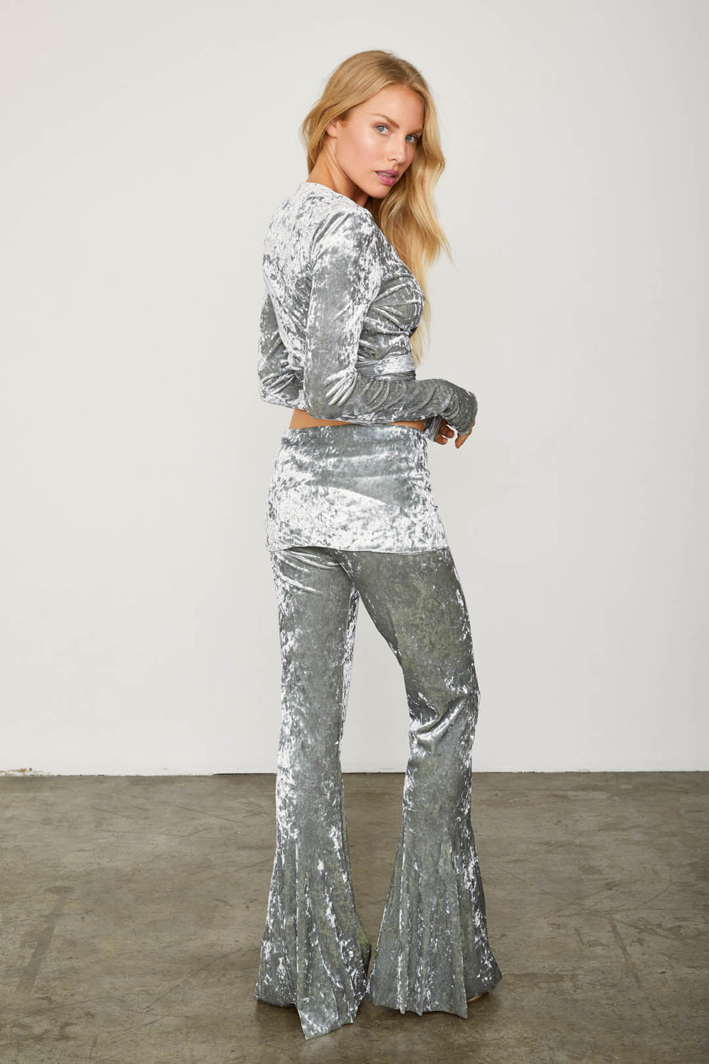 silver velvet flare vintage inspired pant adjustable jumpsuit
