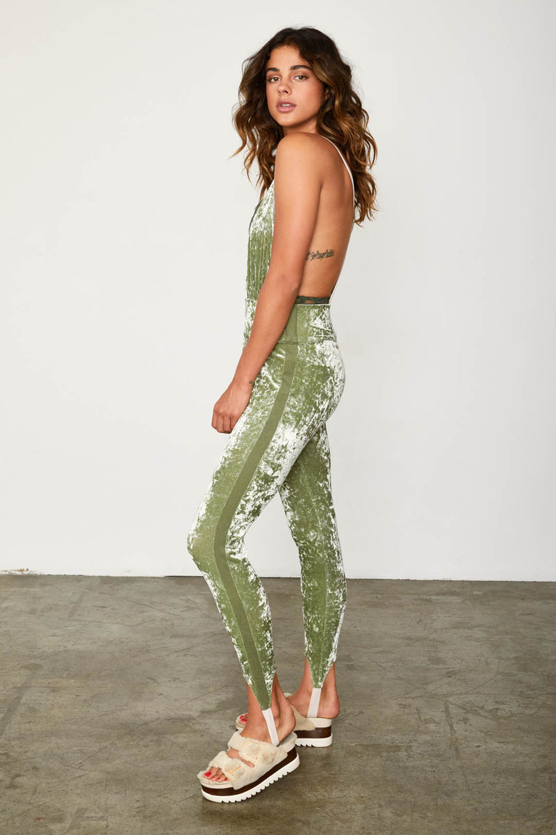 sporty green velvet legging stretchy machine washable high waisted
