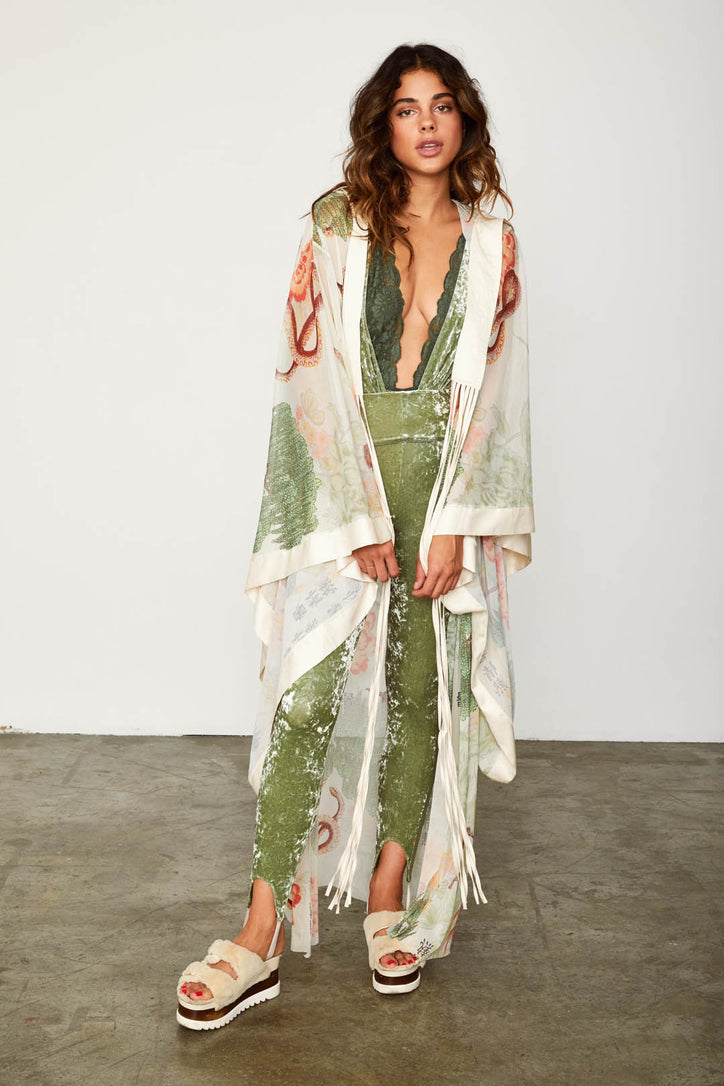 asian floral mesh vintage inspired kimono with hood machine washable