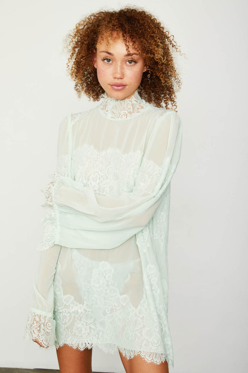 sea foam green lace and chiffon victorian high neck long sleeve mini dress bell sleeves machine washable
