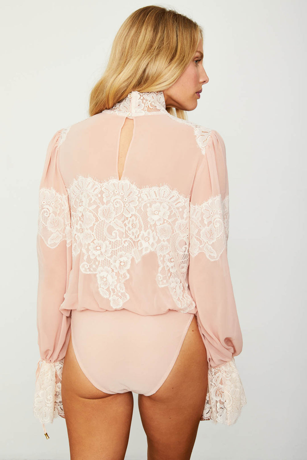 pink and creme lace and chiffon victorian high neck long sleeve bodysuit bell sleeves machine washable