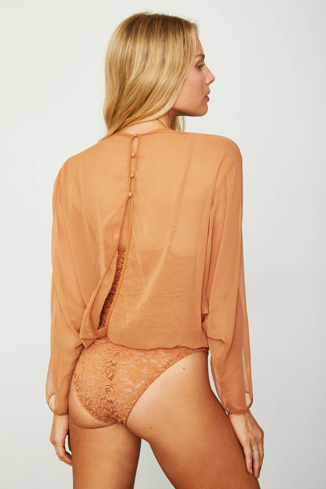 brown chiffon bodysuit blouse with lace underlay machine washable