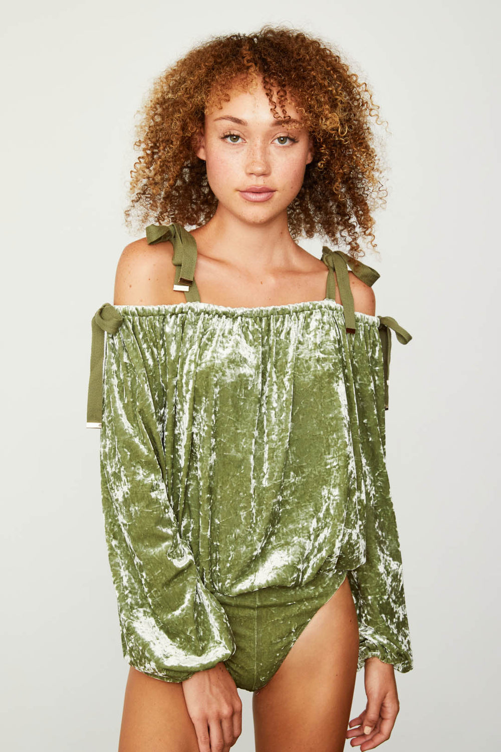light green off the shoulder adjustable velvet top bodysuit vintage inspired