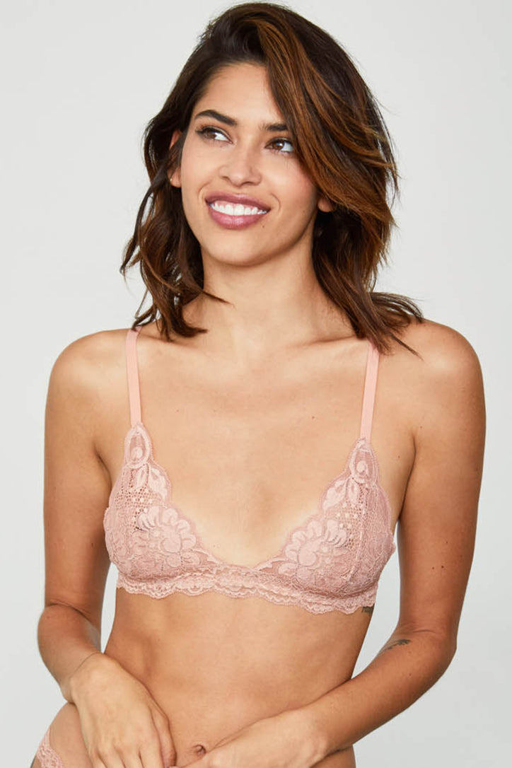 Rose pink lacy bralette.
