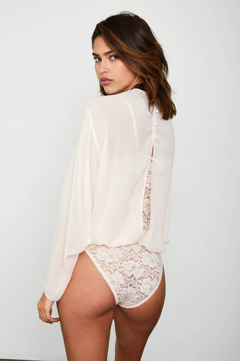 creme chiffon dotted bodysuit blouse with lace underlay machine washable