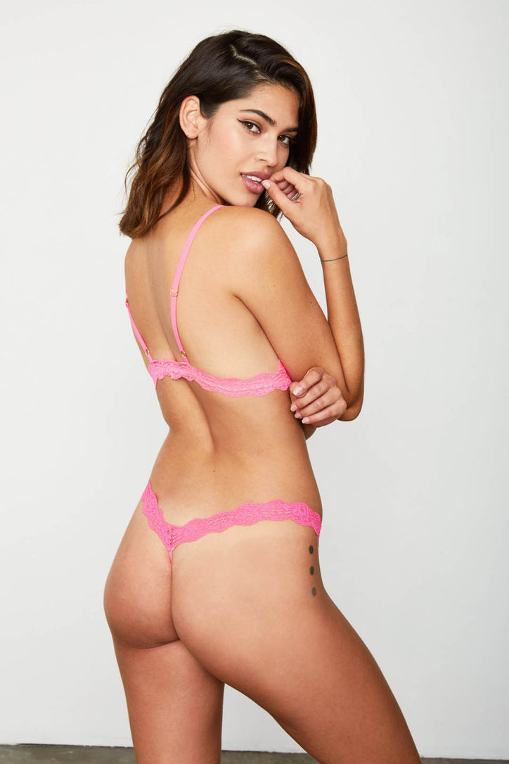 Hot pink lace thong panty.