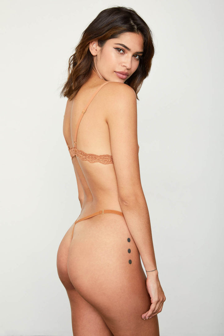 brown nude mesh thong panty sexy one size