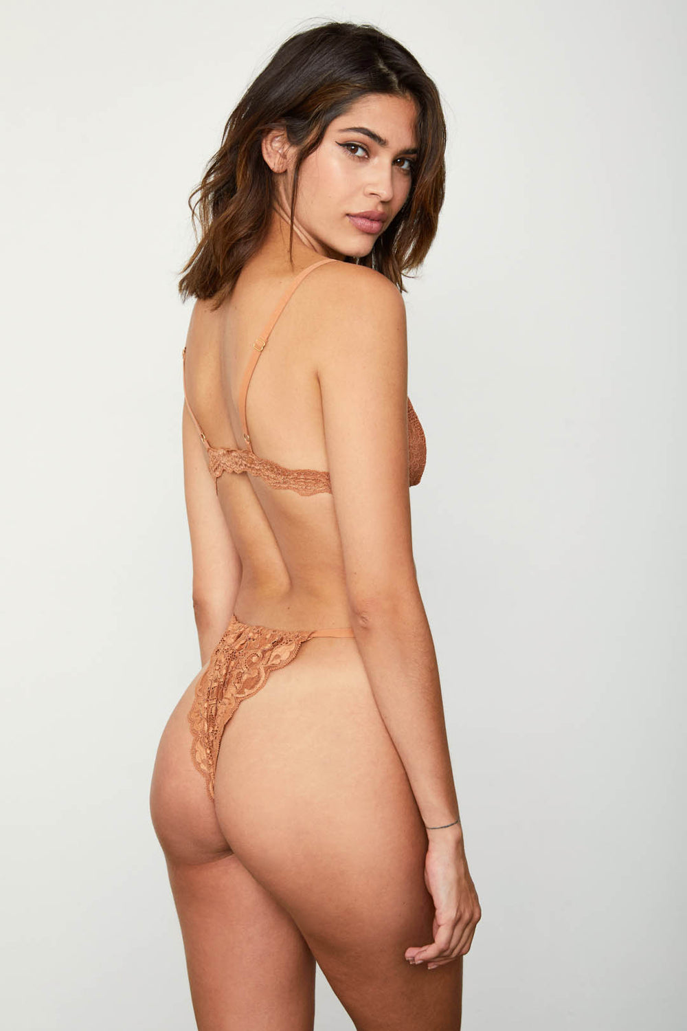 brown high waisted vintage-inspired lacy panty