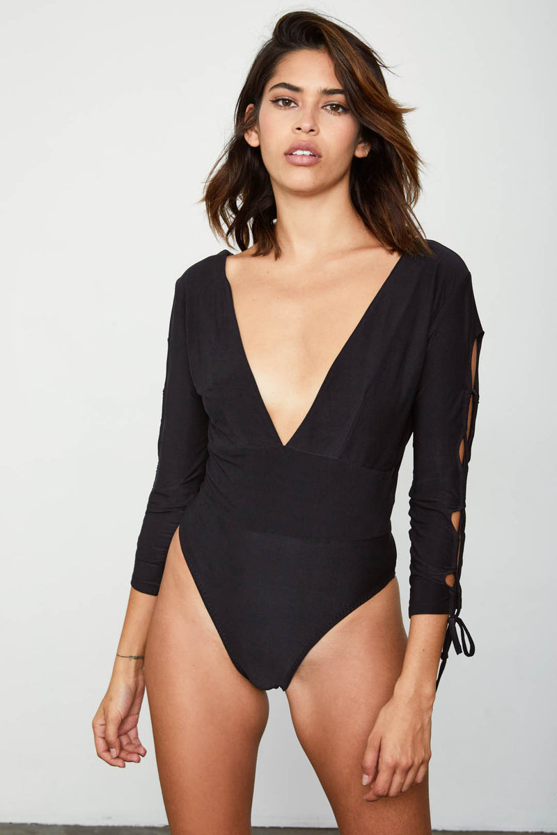 black long sleeved knit tie deep v neck bodysuit reversible