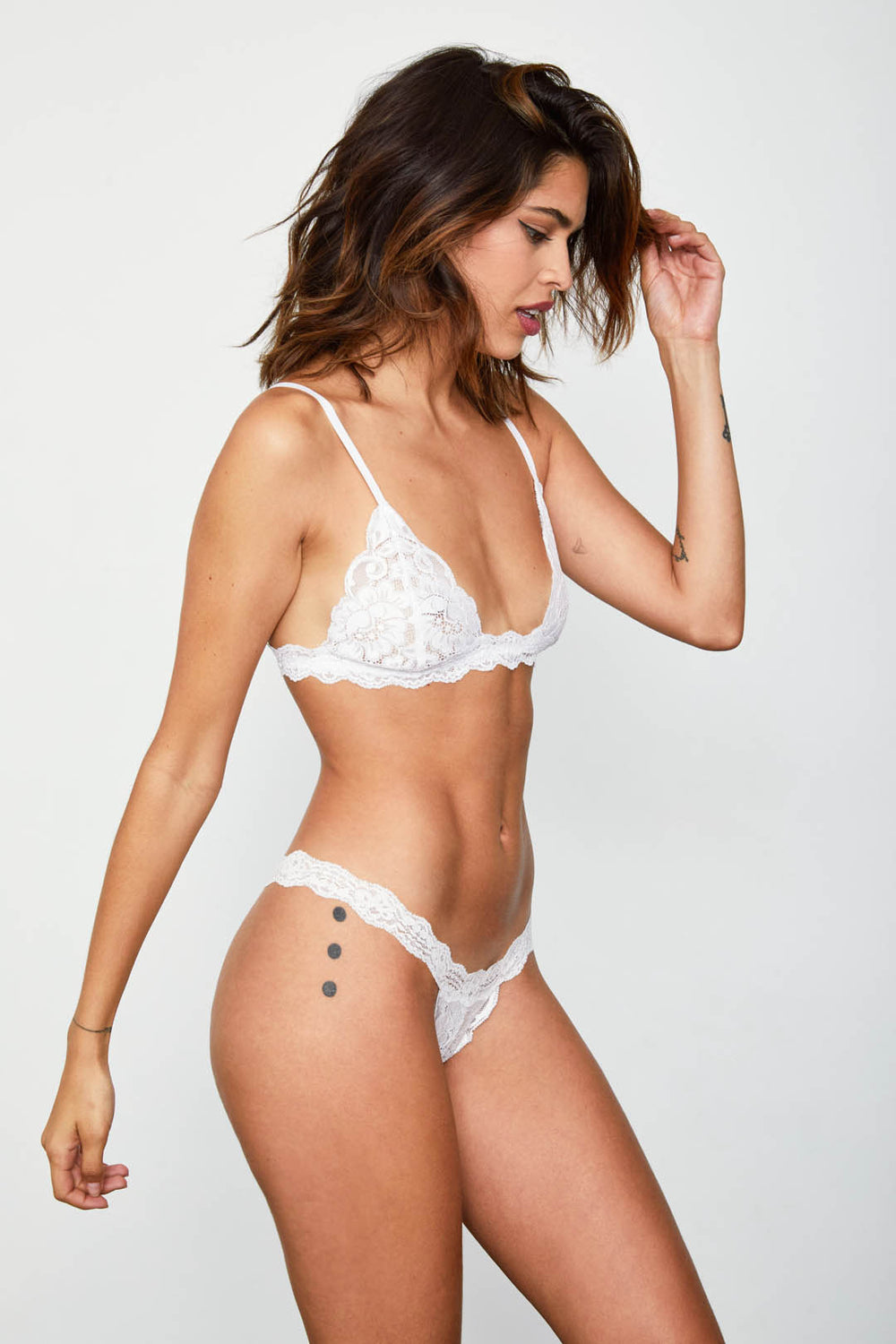 White lace thong panty.