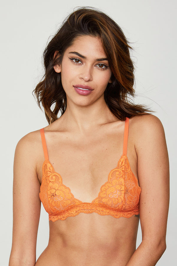 Orange lacy bralette.