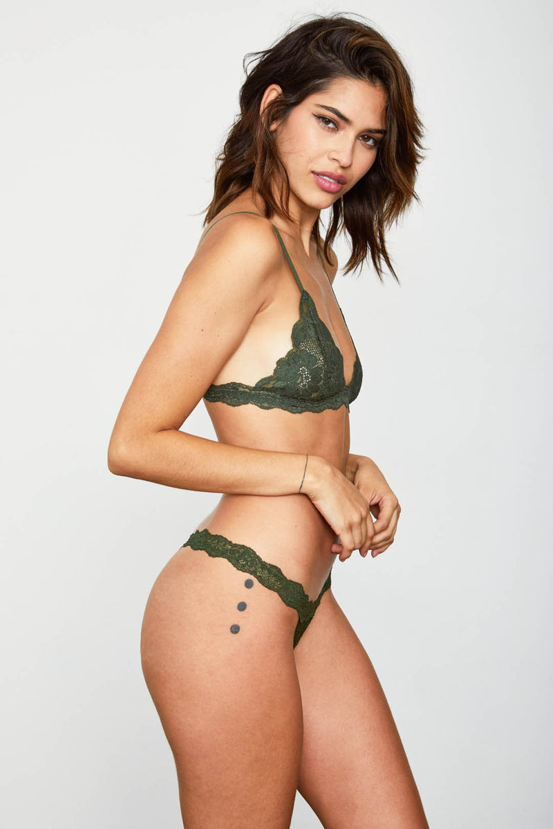 Dark green lacy bralette.