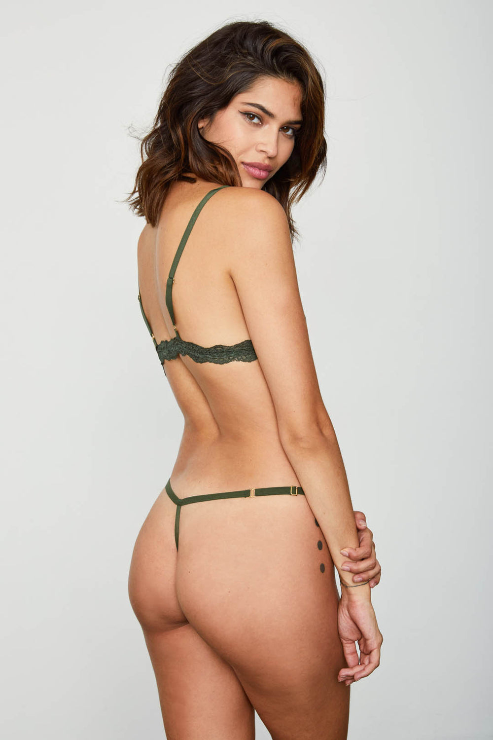 dark green mesh thong panty sexy one size