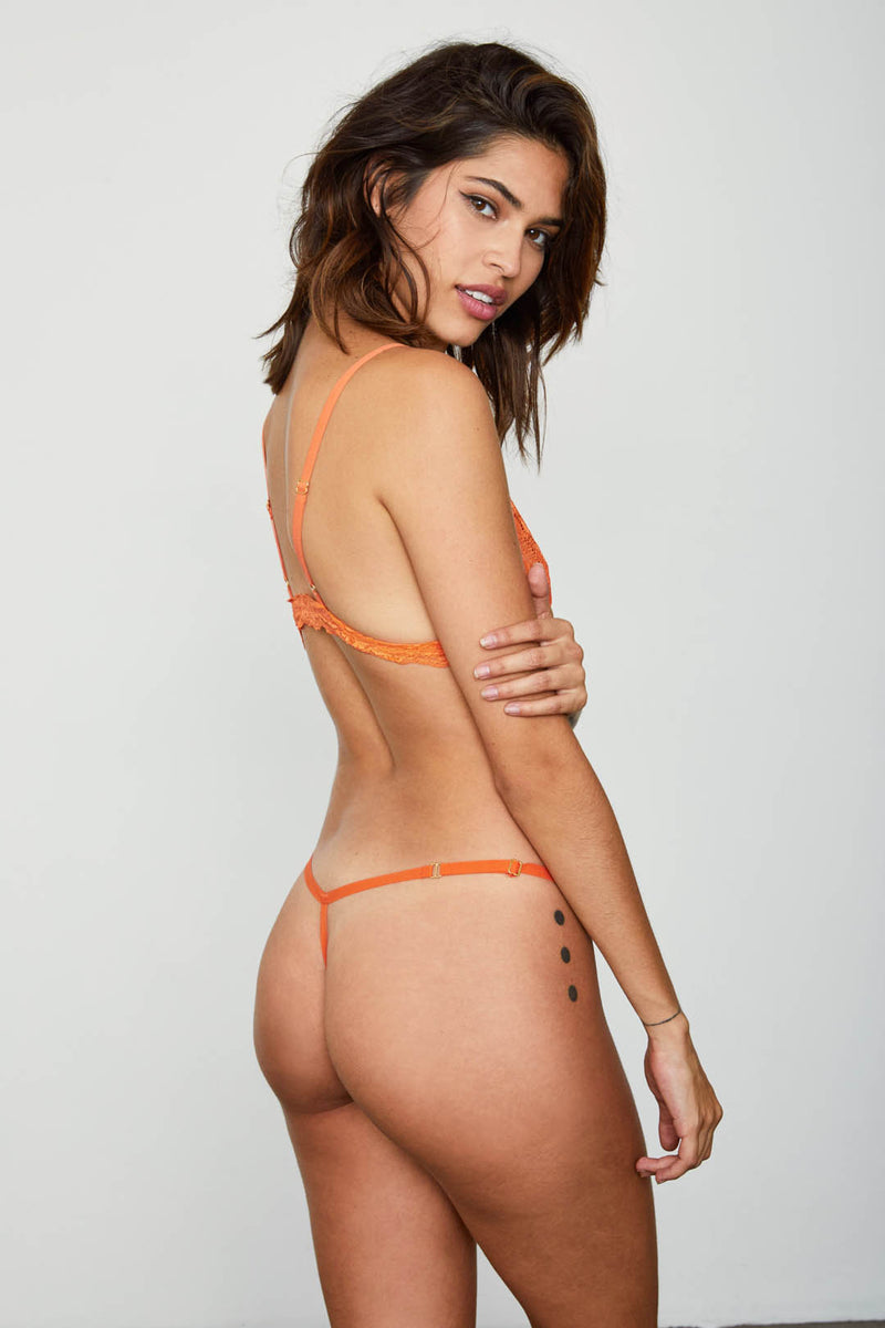 orange mesh thong panty sexy one size