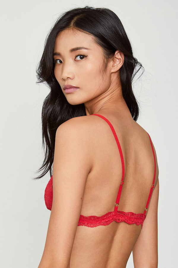 Red lacy bralette.