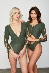 Reversible Naughty Noosha Bodysuit | Graphite Green