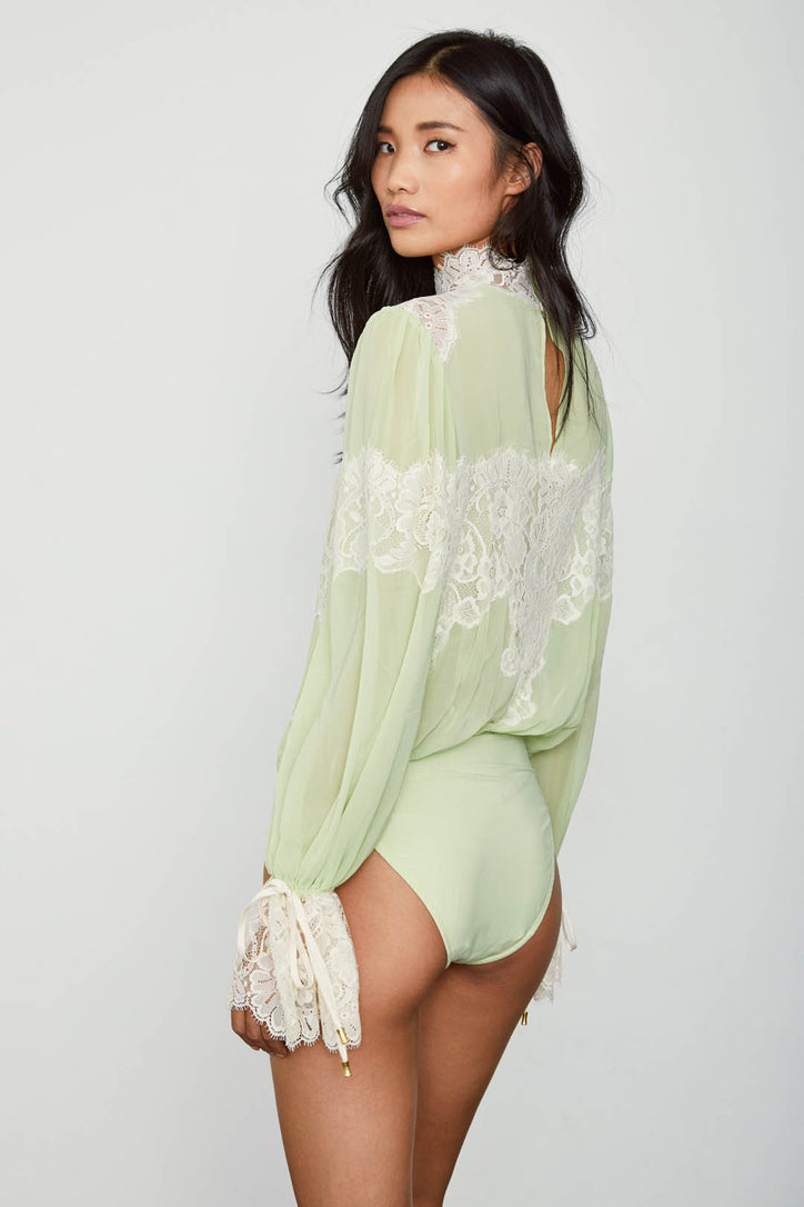 green and creme lace and chiffon victorian high neck long sleeve bodysuit bell sleeves machine washable