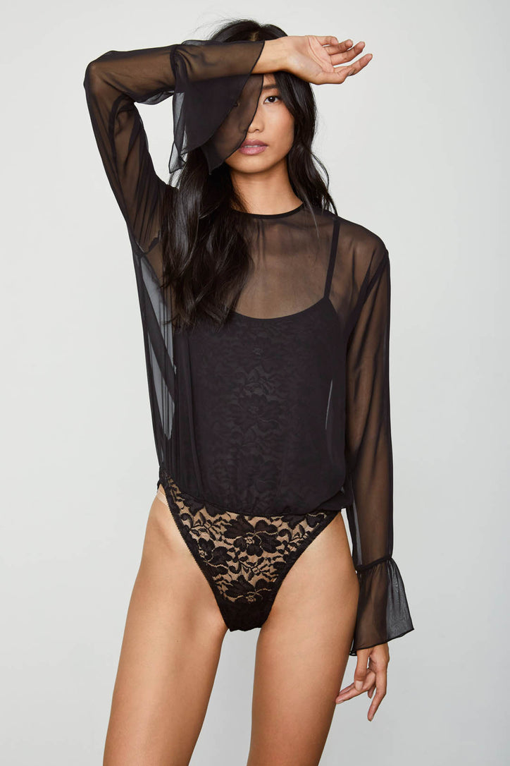 black chiffon bodysuit with lace underlay and bell sleeve machine washable