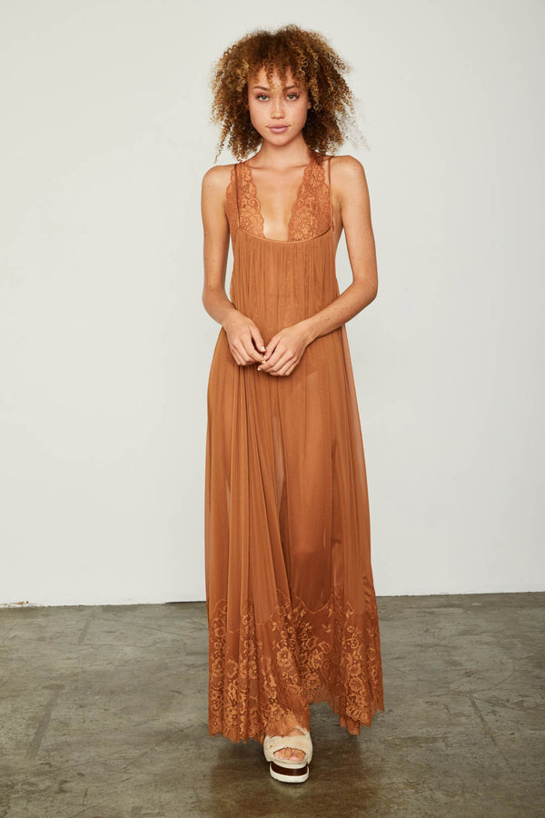 brown mesh and lace sheer long maxi dress| Model is wearing Size S
