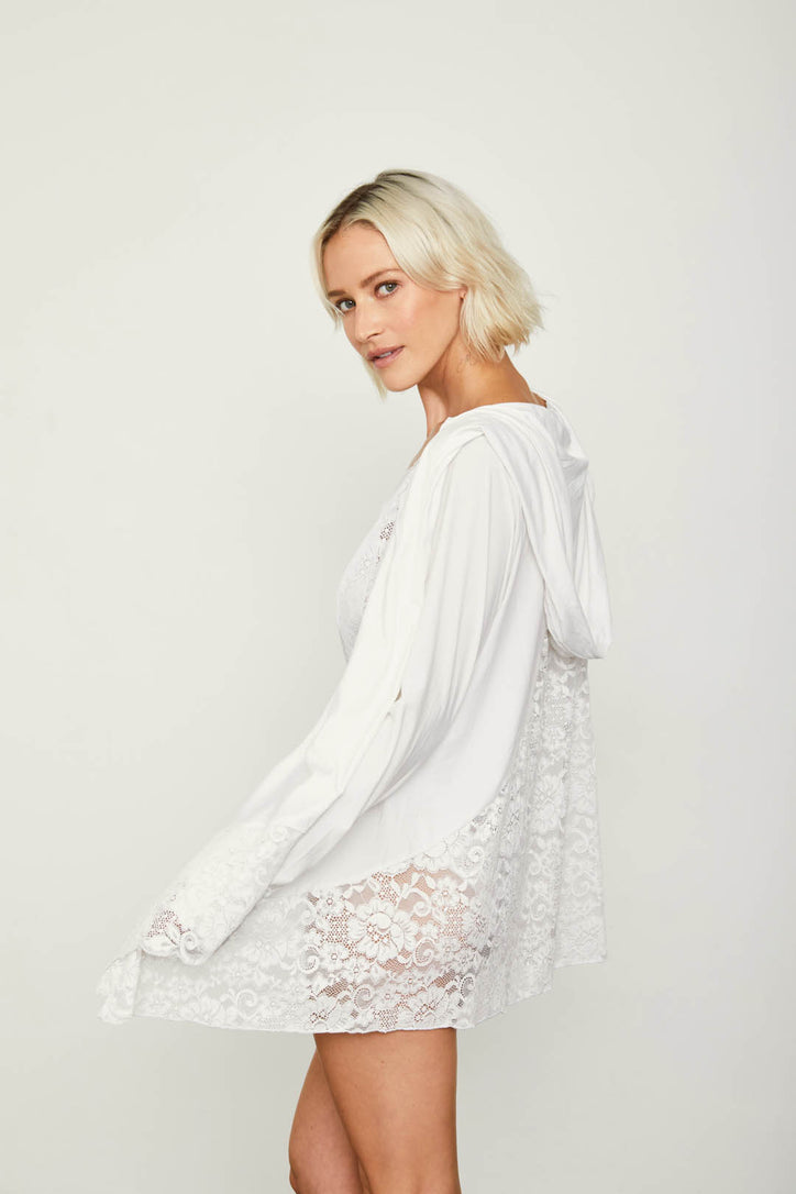 white stretchy knit cardigan with lace and hood