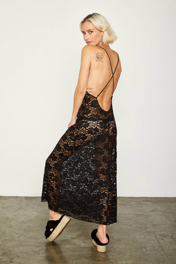 black maxi lace slip machine washable v neck