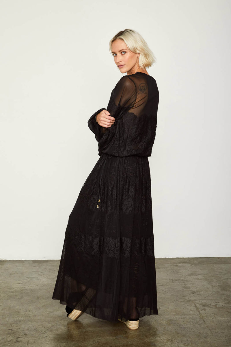 black loose fitting mesh and lace maxi dress v back machine washable
