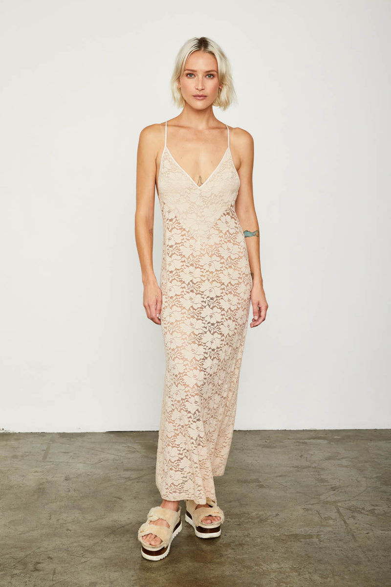 nude maxi lace slip machine washable v neck