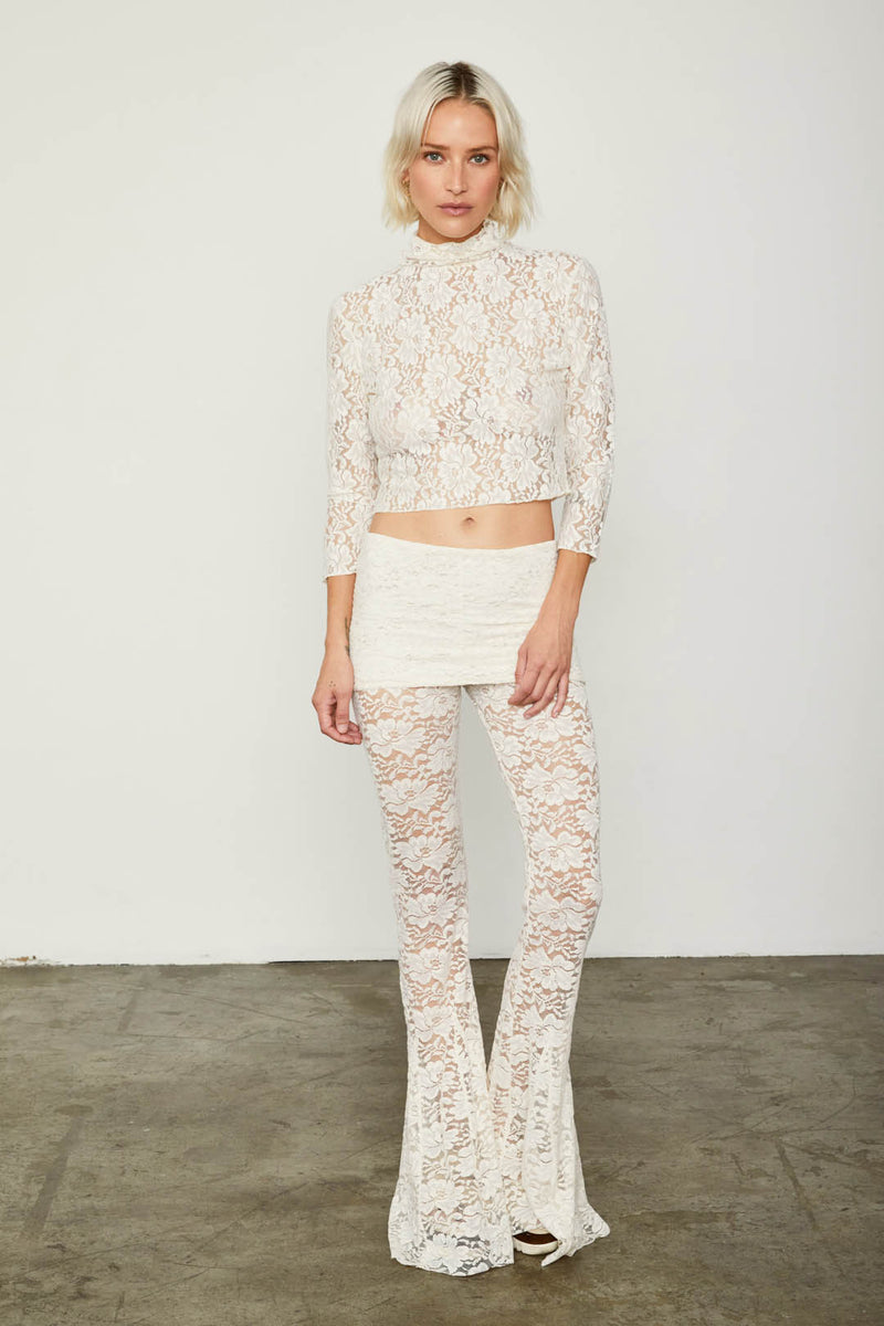 white lace flare vintage inspired pant adjustable jumpsuit