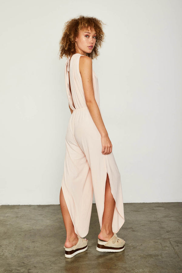 light pink knit v neck jumpsuit open back machine washable