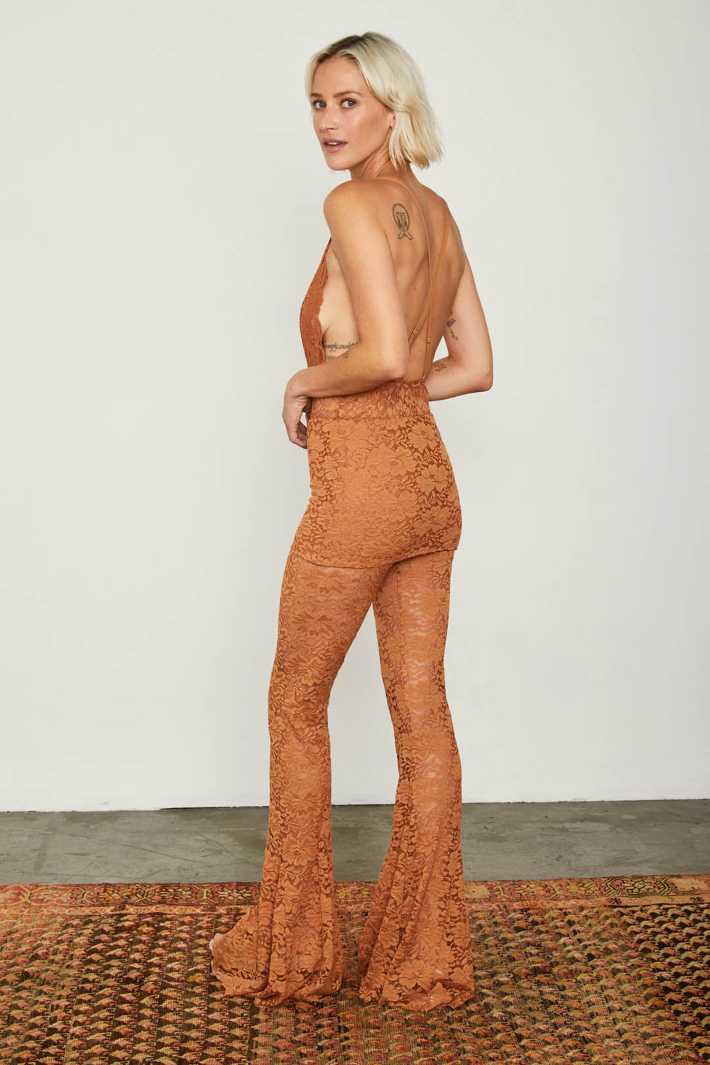 brown lace flare vintage inspired pant adjustable jumpsuit | Model is wearing size S