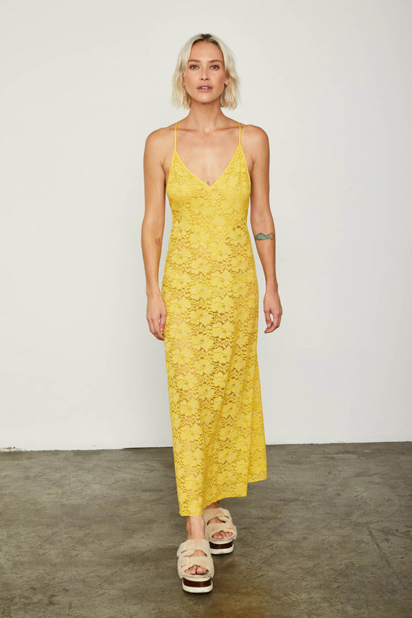 yellow maxi lace slip machine washable v neck