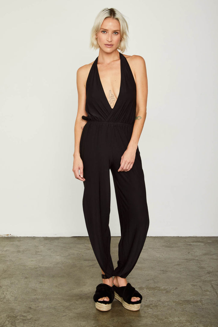 black stretchy knit jumpsuit f neck open back
